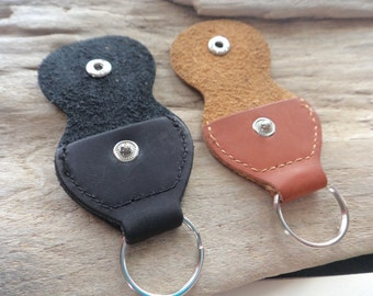 Leather Guitar Pick Case Holder, Brown or Black Leather Pick Keychain Snap Case Player Gift, Leather Supply