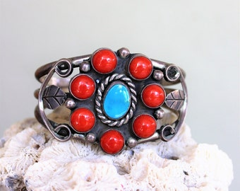 VINTAGE Cuff.  Metal cuff with stone inlay.  Turquoise, coral stones.  Mexican, Indian jewelry