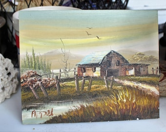 Oil painting on wood, barn near creek, lake, river