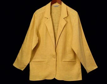 80's YELLOW LINEN slouch blazer // vintage baggy oversize summer jacket // made in USA // women's size L