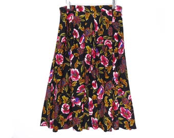 "80's vintage FLORAL skirt // fuchsia & black full pleated skirt // high waisted rayon skirt //   M / L  ~ 31"" waist"