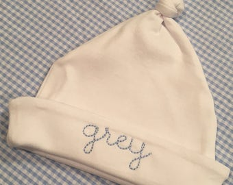 Embroidered Name Infant Knot Hat Monogrammed