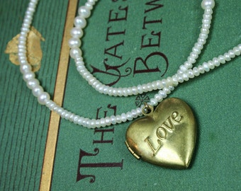 Freshwater Pearl and Vintage Love Heart Locket Necklace