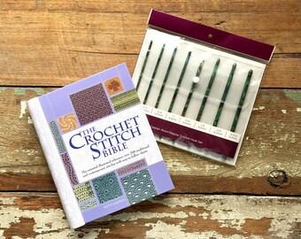 Crochet Gift Set - Wooden Blue Green Crochet 8 pc Hook Set and Crochet Stitch Bible Guide