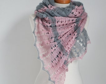 Lace crochet shawl, Grey, Pink, P524