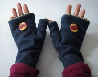 Fingerless Gloves / Handwarmers in soft fleece and lined in cotton knit, Adult Women's size SMALL, Made in Maine