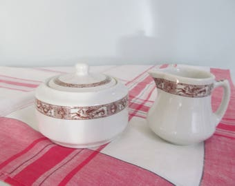 Vintage Sugar Bowl and Cream Pitcher Shenango China Restaurant Ware Shabby Cottage Farmhouse Kitchen