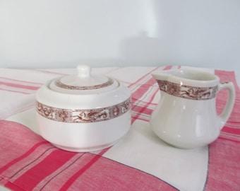 Vintage Sugar Bowl and Cream Pitcher Shenango China Restaurant Ware Shabby Cottage Farmhouse Kitchen
