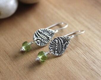 Peridot Dangle Silver Earrings Paisley Jewelry Recycled Silver Earrings Eco Friendly Jewelry August Birthstone Earrings
