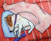 30% off Jack Russell terrier ,sleeping dog, jack russell art, jack russell print on tile, ceramic coaster, modern dog art,bedroom art