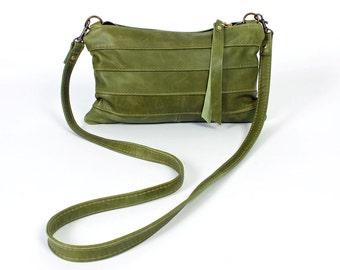 Green Roxy Cross Body Purse in Top Grain Leather Handbag