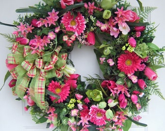 Custom order, any color combination, Large Beautiful Spring wreath, Door wreath,  Front door wreath,
