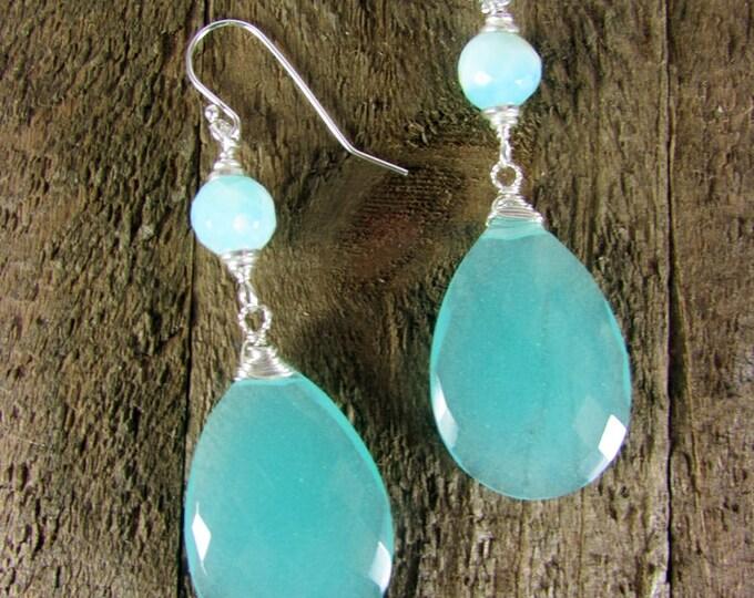 Chalcedony & Peruvian Opal Earrings, Light Blue Sterling Silver Earrings, Gemstone Earrings, Long Earrings