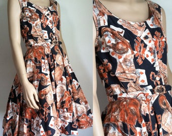 Vintage 1950s Dress - American Almanac Print Sundress