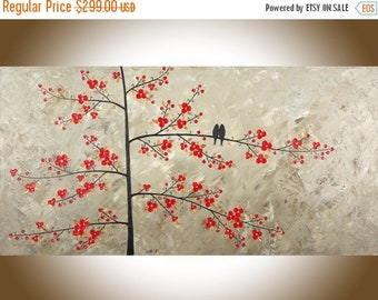 """48"""" Birds painting large canvas painting Red flowers copper art copper home decor impasto palette knife love birds art by QIQIGALLERY"""
