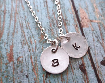 Initial Necklace -Sterling Silver Initials - Personalized Necklace - Silver Initial Necklace - Mommy Gift - Bridesmaid Wedding Gift - S 14