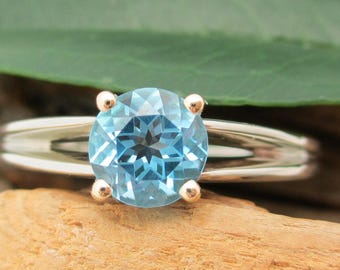 Swiss Blue Topaz Ring in 14k Recycled Gold, Split Shank, 6mm Gem - Free Gift Wrapping