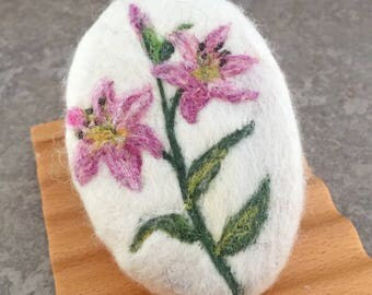 Felted Goat Milk Soap - Pink Lilies Theme Scented with a Fresh Picked Garden Herb and Floral Fragrance