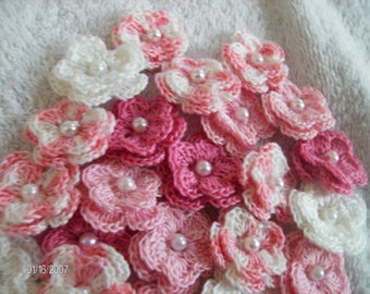 Crochet Flowers set of 25 double layered in a Pink Bouquet