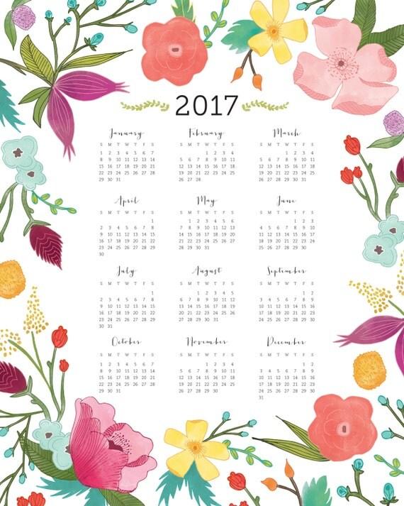 2017 Year at a Glance Botanical Wall Calendar — 11x14 DIGITAL ...