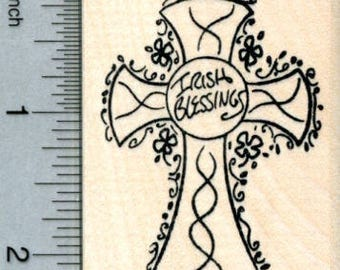 Irish Blessings Cross Rubber Stamp, St Patrick's Day J31714 Wood Mounted