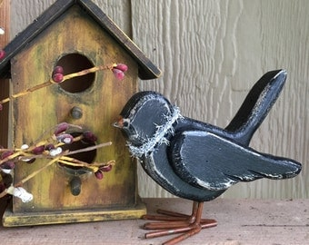 Large Primitive Chunky Wooden Crow