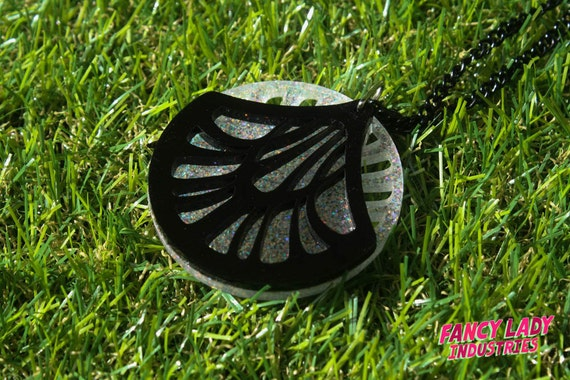 Art Nouveau Pendant Necklace Made From Laser Cut Black and White Glitter Acrylic