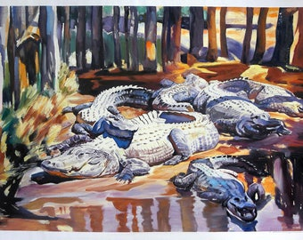 Muddy Alligators - John Singer Sargent hand-painted oil painting reproduction,alligators caked with mud nevertheless,sun-drenched woodland