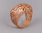 Christmas SALE Rose Gold Ring, Lace Ring, Filigree Ring, Moroccan Jewelry, Victorian Ring, Chunky Ring, Tibetan Ring, Boho Ring, Statemen...