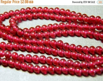 On Sale Vintage Japanese Ruby 4mm Round Glass Beads (25)