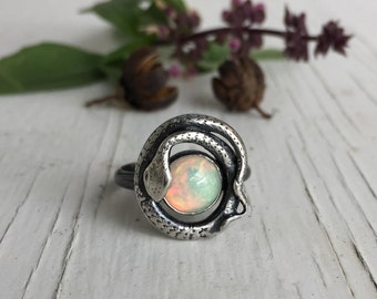Opal Snake Ring, Ouroboros, Victorian lovers knot, Opal Ring, Sterling Silver, Victorian Eternity Snake Ring, Antique Opal Ring, Size 7