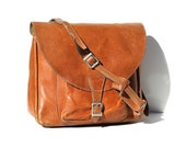 Vintage Men's Peach Brandy Brown Heavy Leather Briefcase Bag