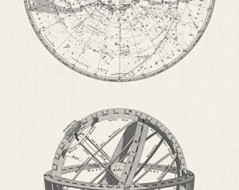 ENCYCLOPEDIA GALACTICA GLOBES Cream Grey Astronomical Illustration Space Quilt Fabric - by the Panel