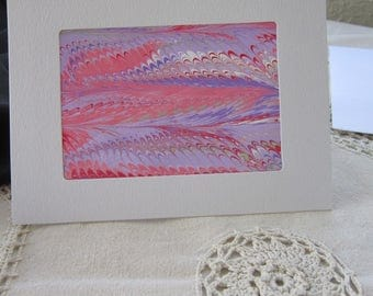 Pink Flow - Marbled Blank Frame Card (A7)