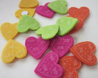 16 Bright Mixed Heart Foam Embellishment Card Toppers