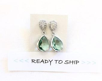 CLEARANCE Light Blue Bridesmaid Earrings, aqua, aquamarine bridesmaid jewelry, bridal party, wedding earrings, bridal earrings