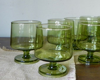 Green Glass Coupes, Mid Mod Sherbet Dessert Bowls drinks barware , Block Chromatics set of 8 eight they stack nice for storage