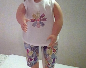 "18"" Doll Clothes- Two Piece Set, Culottes and Appliqued Tank Top, Floral, READY to ship"