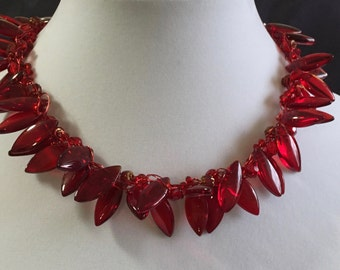 Hand Made Crochet Necklace with Glass and Crystals.