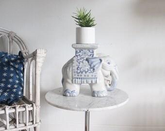 Blue & White Ceramic Elephant Pedestal Plant Stand / Bookend