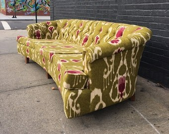 Incredible Curved Tufted Chartreuse & Magenta Sofa Couch - FREE DELIVERY Nyc/CT/Boston