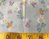 2/3 Yard of Bugs and Butterflies Blue Fabric