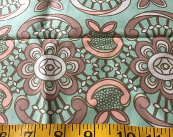 Half Yard of Aqua Abstract  Floral Fabric
