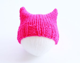 Pink cat hat, baby hat, pink, hot pink, cat hat, cat ear hat, knit pussyhat, pink pussycat hat, pink pussyhat, pussyhat for baby