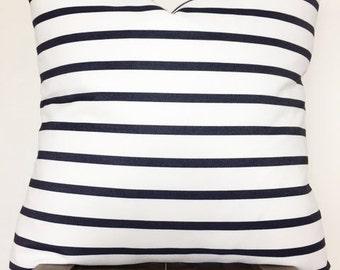 Soft designer woven bright white w/ dark denim stripes pillow cover/22x22/modern/boho/Ready to ship