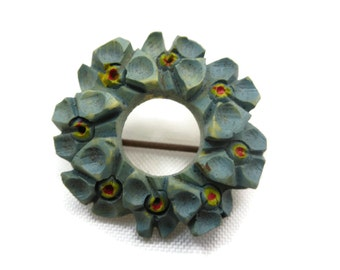 Forget Me Not Brooch - Carved Painted, Antique Wreath Brooch