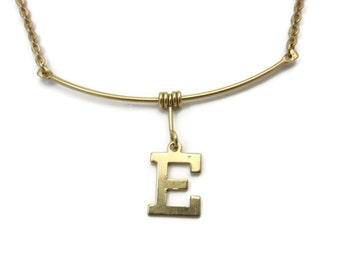 Gold Initial E Necklace - Gold Tone Costume Jewelry