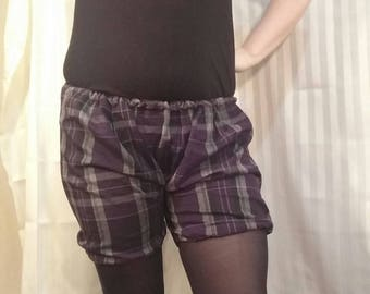 Purple Grey Black Plaid Bloomer Shorts