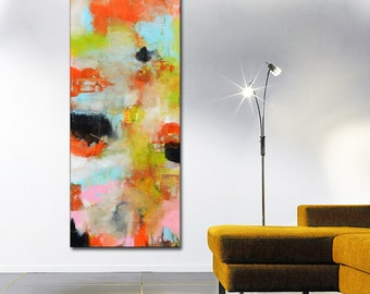 Abstract painting, orange red blue painting, orange and blue, abstract large painting, red canvas, large art, green and blue art original