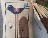 Cross Stitch Blue Bird Ornaments with border & flowers